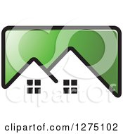 Clipart Of A Green Icon With A House Roof Top Royalty Free Vector Illustration