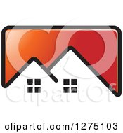 Clipart Of A Red Icon With A House Roof Top Royalty Free Vector Illustration