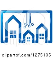 Clipart Of A Blue Houses With Circuitry Royalty Free Vector Illustration by Lal Perera