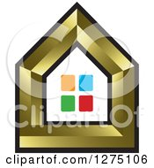 Clipart Of A Gold House With Colorful Windows Royalty Free Vector Illustration