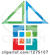 Clipart Of A Colorful Geometric House Royalty Free Vector Illustration