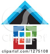 Clipart Of A Colorful Geometric House 2 Royalty Free Vector Illustration