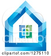 Clipart Of A Blue And Green House Royalty Free Vector Illustration