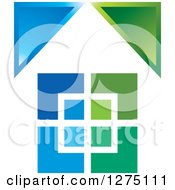 Clipart Of A Blue And Green House 2 Royalty Free Vector Illustration