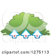Clipart Of Three Houses And A Tree Canopy Royalty Free Vector Illustration