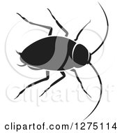 Clipart Of A Black And White Cockroach Royalty Free Vector Illustration