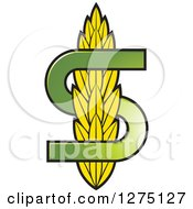 Clipart Of A Green Letter S And Wheat Royalty Free Vector Illustration by Lal Perera