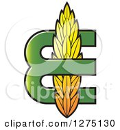 Clipart Of A Green Letter E With Wheat Royalty Free Vector Illustration by Lal Perera