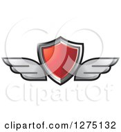 Clipart Of A Red Shield With Silver Wings Royalty Free Vector Illustration
