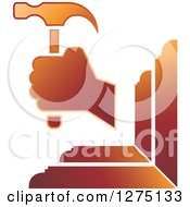 Clipart Of A Gradient Brown Hammer And Wood Royalty Free Vector Illustration by Lal Perera