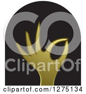 Clipart Of A Gold Hand Gesturing Ok In A Black Arch Royalty Free Vector Illustration