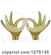 Clipart Of Gold Hands Gesturing Ok Royalty Free Vector Illustration
