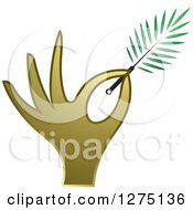 Clipart Of A Gold Hand Holding A Branch Or Duster Royalty Free Vector Illustration