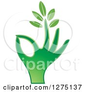 Clipart Of A Green Hand Gesturing Ok With A Leafy Finger Royalty Free Vector Illustration
