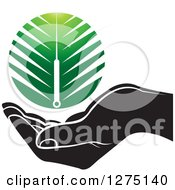 Clipart Of A Black And White Hand Under A Green Branch Or Duster Royalty Free Vector Illustration