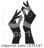 Clipart Of Black And White Hands Gesturing Ok Royalty Free Vector Illustration