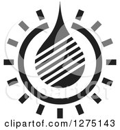 Clipart Of A Black And White Water Drop Design Royalty Free Vector Illustration
