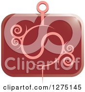 Clipart Of A Pink Needle With Swirls On A Rectangle Red Icon Royalty Free Vector Illustration by Lal Perera