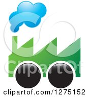 Clipart Of A Green Smoking Factory On Wheels Royalty Free Vector Illustration by Lal Perera