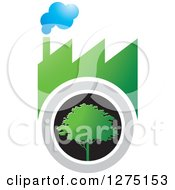 Clipart Of A Green Smoking Factory And A Tree Royalty Free Vector Illustration by Lal Perera