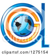 Clipart Of A Blue And Orange Globe And Abstract GA Logo Royalty Free Vector Illustration