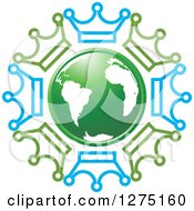Clipart Of A Green And White Earth Encircled With Crowns Royalty Free Vector Illustration