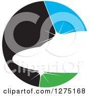 Clipart Of A Black Blue And Green Abstract Shiny Jet Icon Royalty Free Vector Illustration