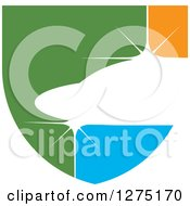 Clipart Of A Green Orange And Blue Abstract Shiny Jet Icon Royalty Free Vector Illustration