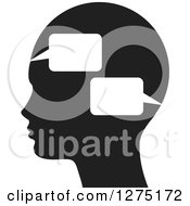 Clipart Of A Black Silhouetted Head With Speach Balloons Royalty Free Vector Illustration by Lal Perera
