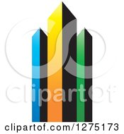Clipart Of A Colorful Skyscraper Design Royalty Free Vector Illustration