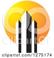 Clipart Of Black And White Skyscrapers Over A Sun Royalty Free Vector Illustration