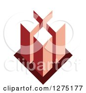 Clipart Of A Red Geometric City Design Royalty Free Vector Illustration by Lal Perera