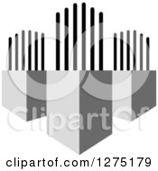 Clipart Of A Grayscale Cubic Design 5 Royalty Free Vector Illustration by Lal Perera