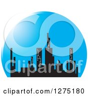Clipart Of A City Skyline In A Blue Circle Royalty Free Vector Illustration