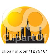 Clipart Of A City Skyline In A Sunset Circle Royalty Free Vector Illustration