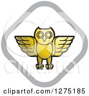 Clipart Of A Gold White And Silver Diamond Owl Icon Royalty Free Vector Illustration by Lal Perera