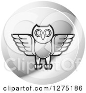 Clipart Of A Silver Owl Icon Royalty Free Vector Illustration by Lal Perera
