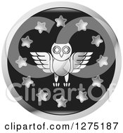 Clipart Of A Silver Owl And Star Icon Royalty Free Vector Illustration