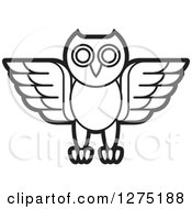 Clipart Of A Black And White Owl Icon Royalty Free Vector Illustration by Lal Perera
