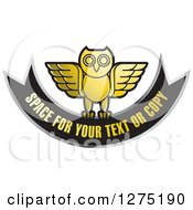 Clipart Of A Gold Silver And Black Owl And Banner Icon Royalty Free Vector Illustration by Lal Perera
