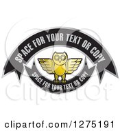 Clipart Of A Gold Silver And Black Owl And Banners Icon Royalty Free Vector Illustration by Lal Perera