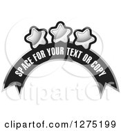 Clipart Of A Black And Silver Arched Banner With Sample Text And Stars Royalty Free Vector Illustration by Lal Perera