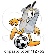 Clipart Picture Of A Garbage Can Mascot Cartoon Character Kicking A Soccer Ball