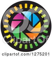 Clipart Of A Colorful Shutter Icon 2 Royalty Free Vector Illustration by Lal Perera