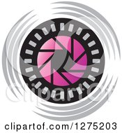 Clipart Of A Pink Black And Gray Shutter Icon Royalty Free Vector Illustration by Lal Perera