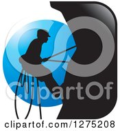 Clipart Of A Silhouetted Male Mountain Climber Against A Blue Circle Royalty Free Vector Illustration by Lal Perera