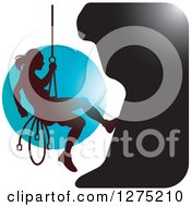 Clipart Of A Silhouetted Female Mountain Climber Rapelling Against A Blue Circle Royalty Free Vector Illustration