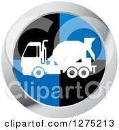 Clipart Of A White Silhouetted Concrete Mixer Truck In A Black Blue And Silver Icon Royalty Free Vector Illustration by Lal Perera