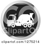 Clipart Of A White Silhouetted Concrete Mixer Truck In A Black And Silver Icon Royalty Free Vector Illustration