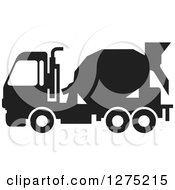 Clipart Of A Black Silhouetted Concrete Mixer Truck Royalty Free Vector Illustration